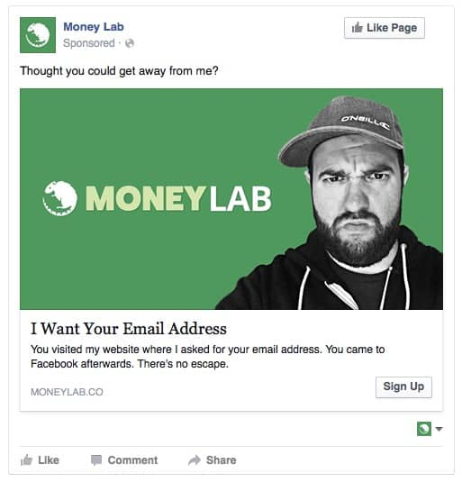 Fucking Email Facebook Retargeting Ad