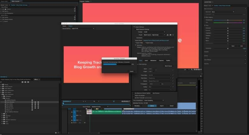 Exporting Asana For Bloggers videos from Adobe Premiere