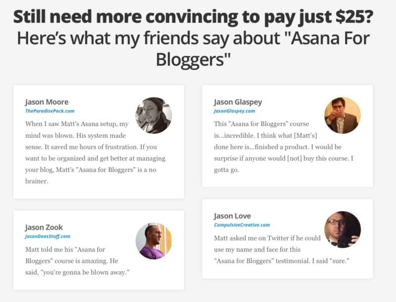 Jason testimonials for Asana for Bloggers