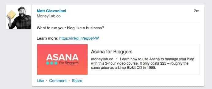 Promoted Asana for Bloggers on LinkedIn