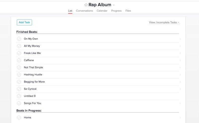 Rap Album Project Update in Asana