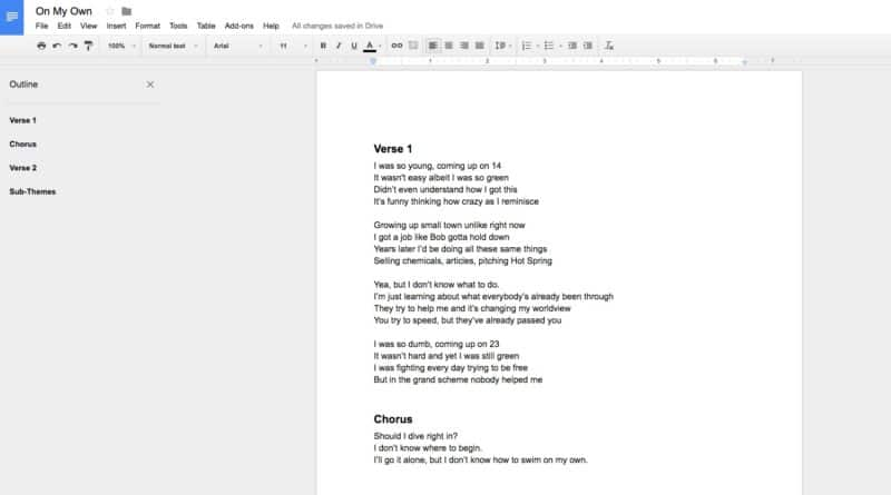 Google Doc Screenshot of Lyric Writing