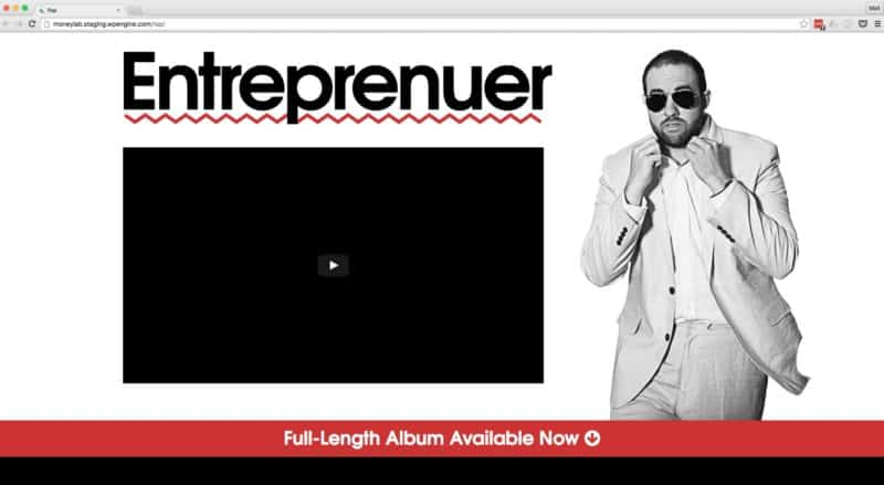 First look at the rap album landing page