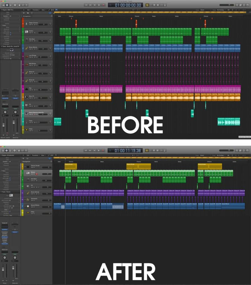 Before and After Track Stack in Logic Pro X