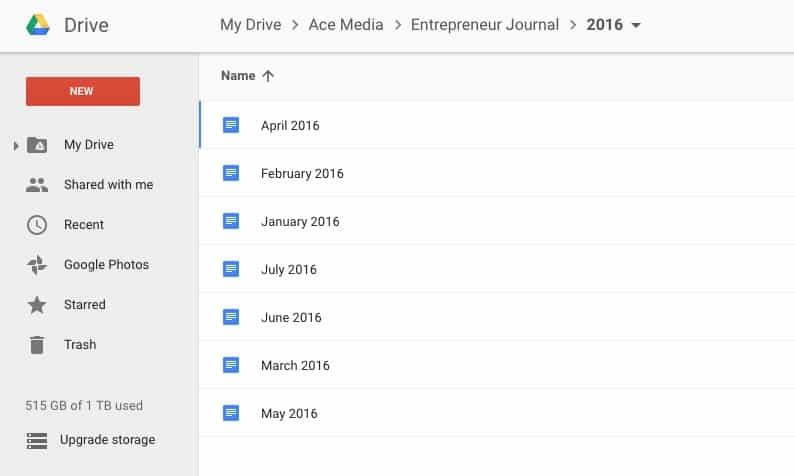 Google Drive Entrepreneur Journal
