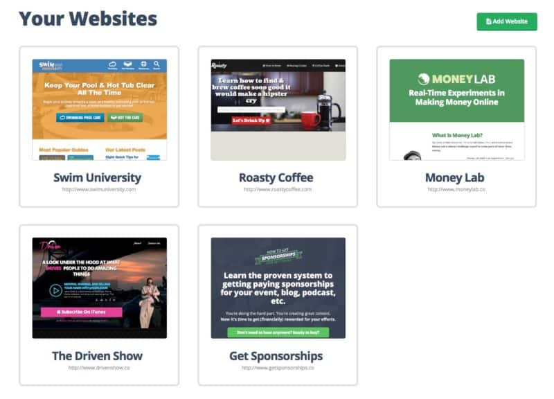 The Dashboard where you can add as many sites as you want