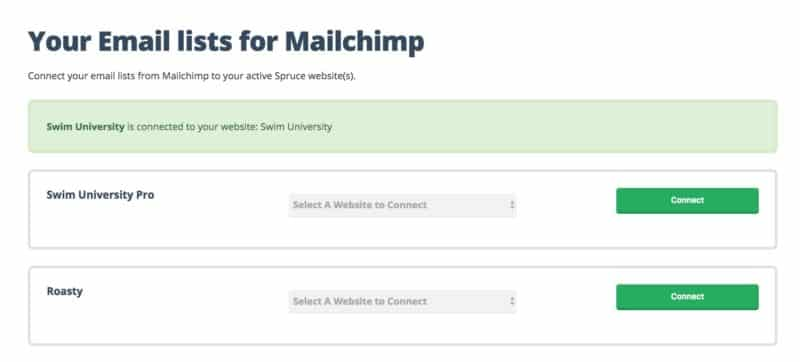Connect your Mailchimp Lists to your Spruce Websites