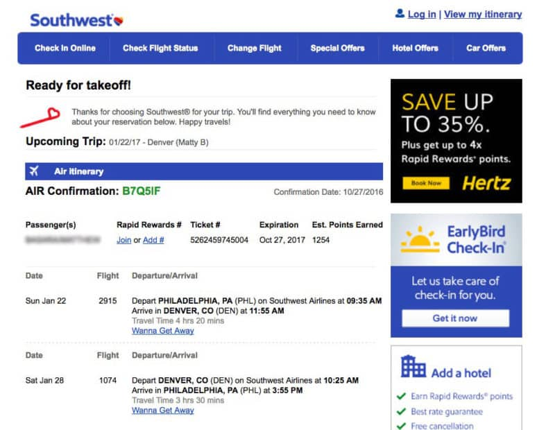 Southwest Flight Booking For Breckenridge Trip