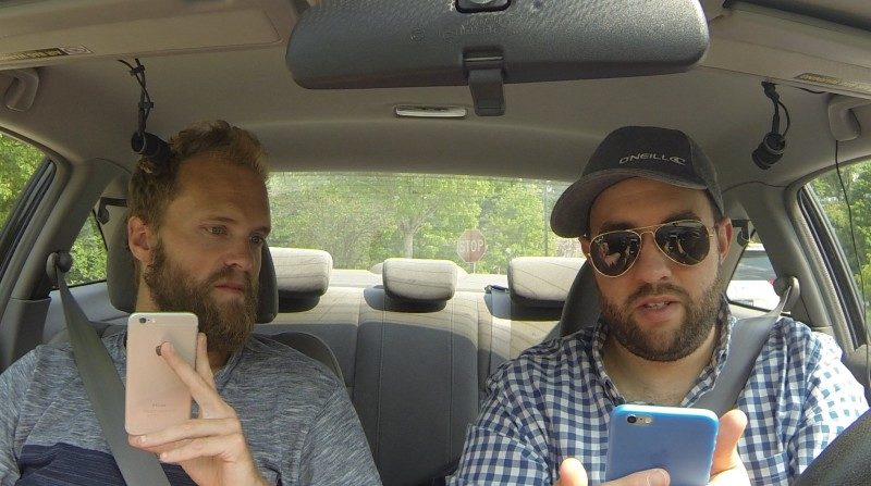 Matt Giovanisci and Travis Sherry Recording a Podcast in a Honda Civic