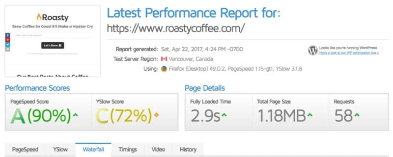 GTmetrix score for Roasty before optimization