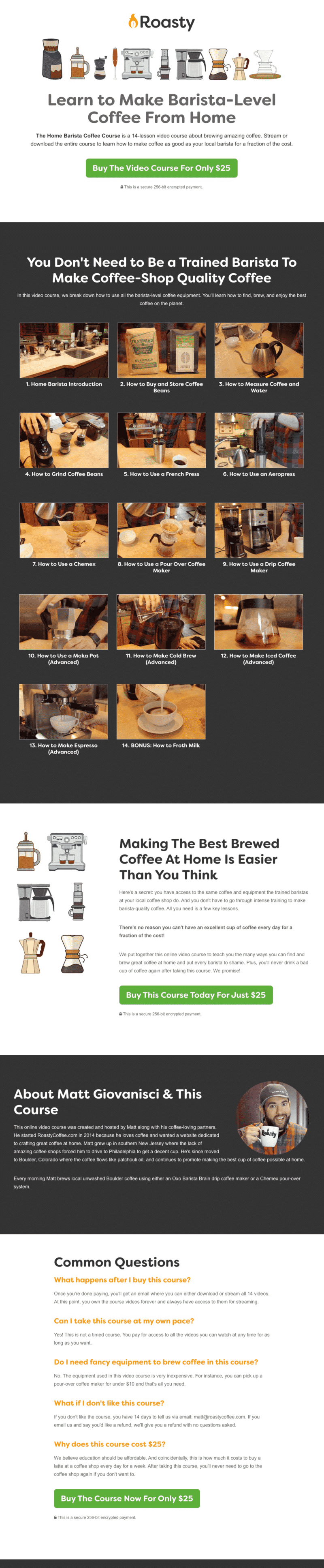 Roasty Home Barista Course Sales Page
