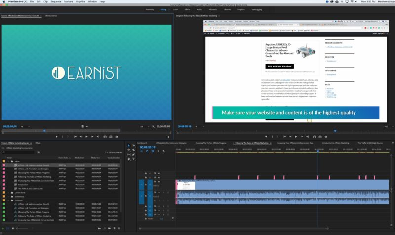 Editing Earnist Course Videos in Premiere
