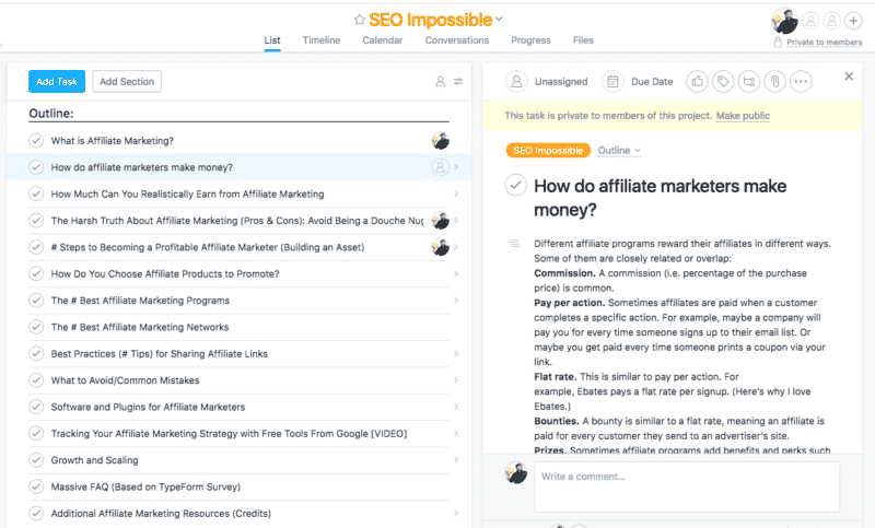 SEO Impossible Asana Outline
