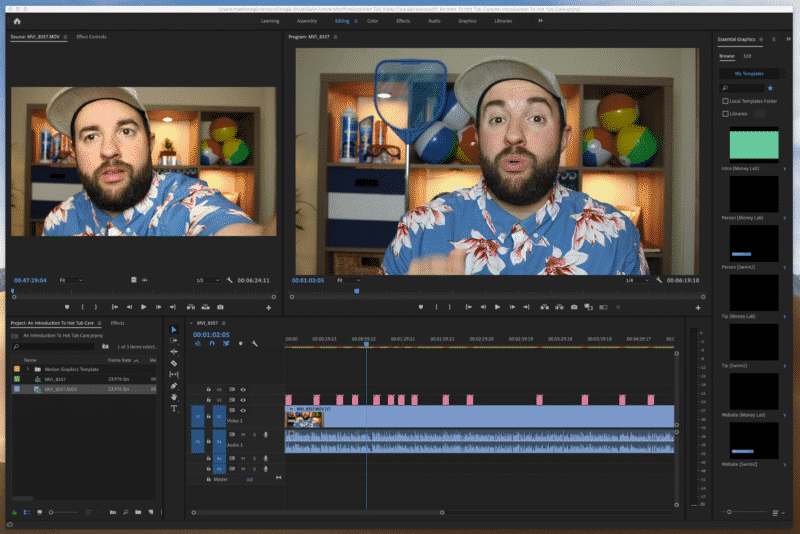 Editing video lessons in Premiere
