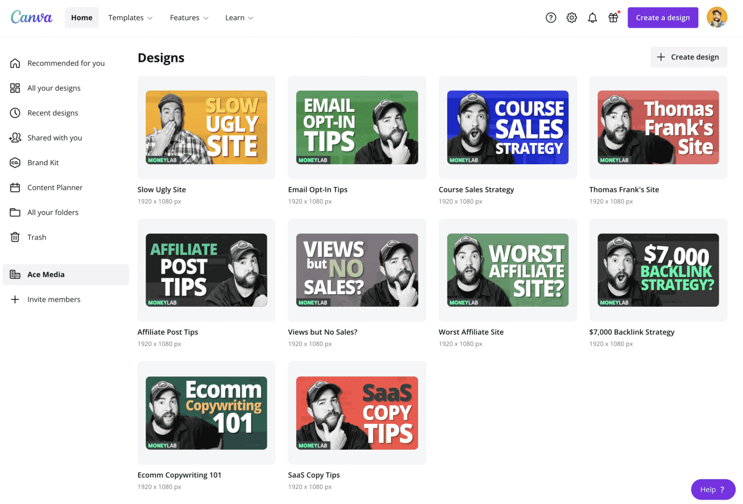 Canva YouTube Thumbnail Designs For Money Lab