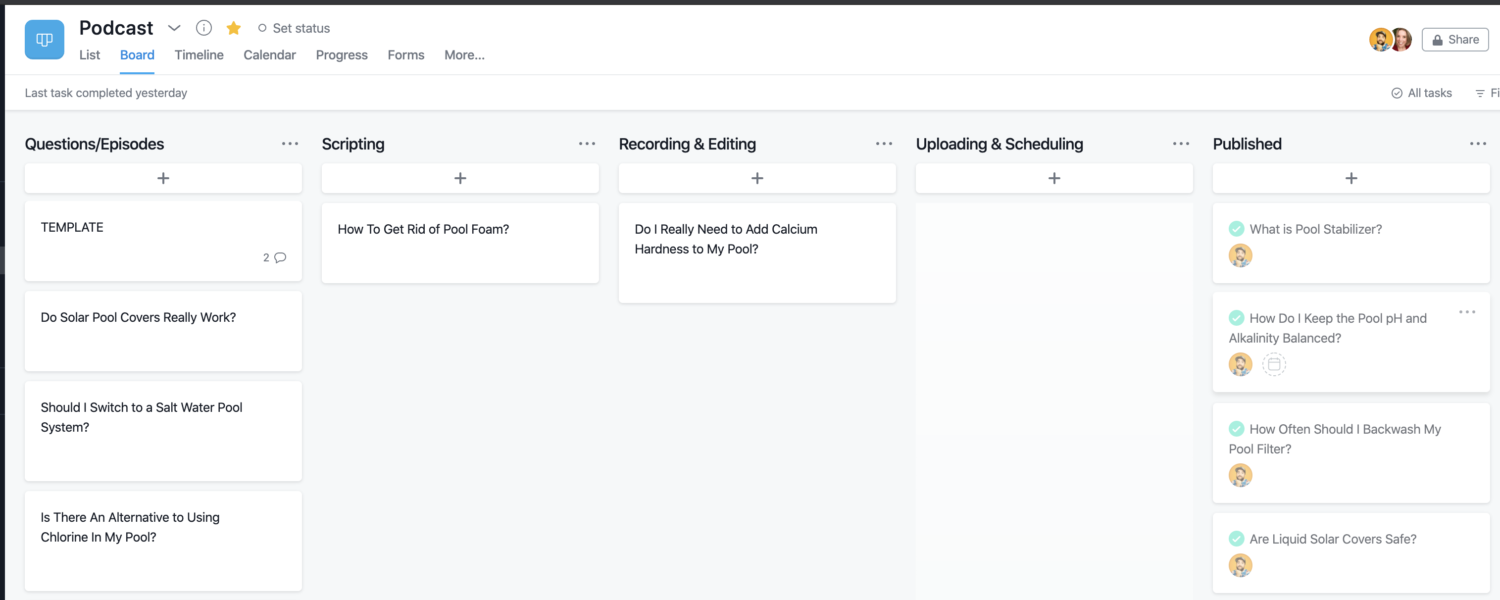 Podcast Workflow in Asana