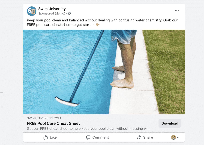 Pool Cheat Sheet Facebook Ad
