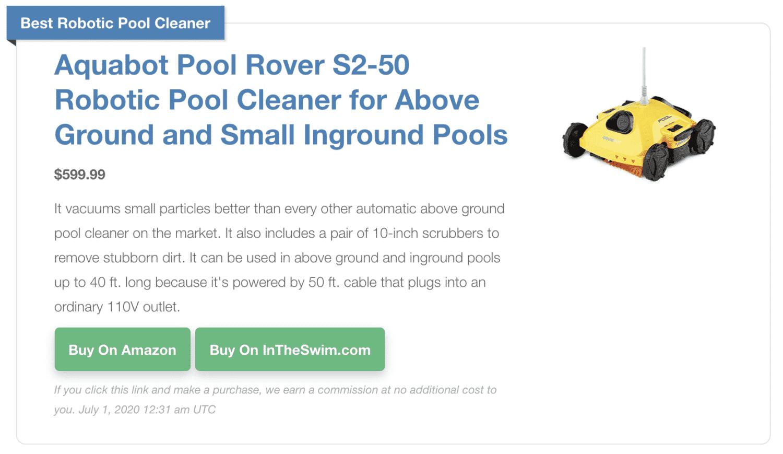 Pool Cleaner Display July 2020