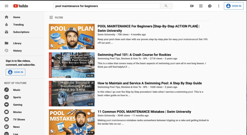 Pool Maintenance YouTube Search