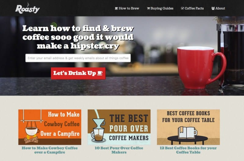 Original Roasty Coffee Homepage Design